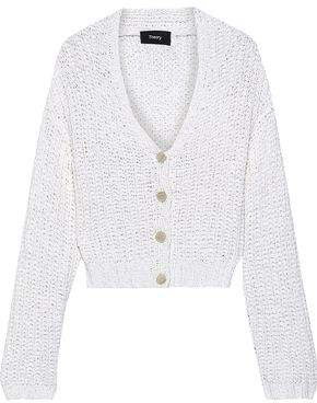 Theory Open-knit Cotton-blend Cardigan
