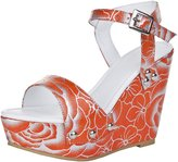 TDA Women's MA1218 Studded Slingback Bucklel Fabric Platform Wedge Dress Sandals