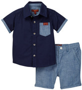 7 For All Mankind Short Sleeve Button-Up Shirt & Short Set (Baby Boys)