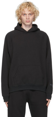 Essentials Black Fleece Pullover Hoodie