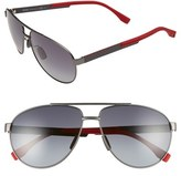 BOSS Men's 63Mm Aviator Sunglasses - Red Carbon/ Gray Gradient