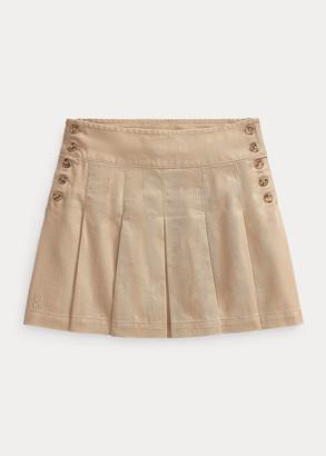 Ralph Lauren Pleated Cotton Chino Skirt