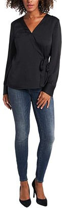 Vince Camuto Long Sleeve Side Tie Wrap Blouse (Rich Black) Women's Clothing