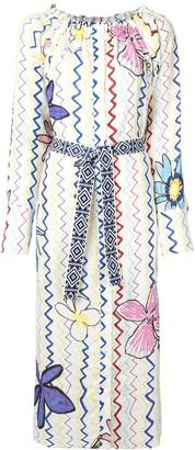 Mira Mikati Zigzag Floral Shirt Dress