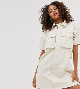 Asos Tall DESIGN Tall denim boxy shirt dress in ecru-White