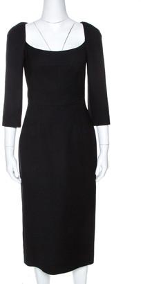 Dolce & Gabbana Black Wool Crepe Sheath Dress S