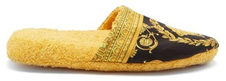 Versace Baroque-print Cotton-terry Slippers - Black Gold