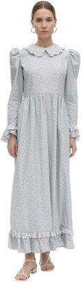Batsheva Long Prairie Printed Cotton Poplin Dress