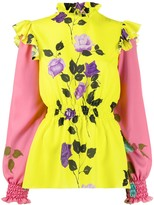 MSGM floral-print ruffle blouse