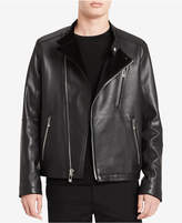 Calvin Klein Men's Classic-Fit Leather Moto Jacket