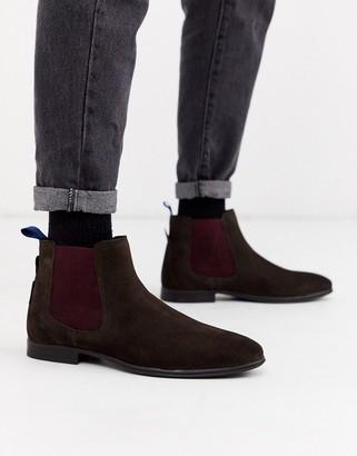 Ben Sherman suede chelsea boot in brown