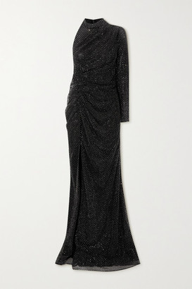 RALPH & RUSSO One-sleeve Ruched Crystal-embellished Mesh Gown - Black
