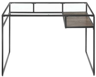 17 Stories Nelligan Glass Desk Color: Gray