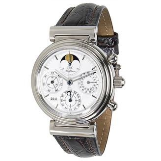 IWC White 18K White Gold and Leather Da Vinci 3750 Men's Wristwatch 38MM