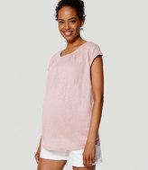 LOFT Petite Maternity Relaxed Skinny Denim Shorts in White
