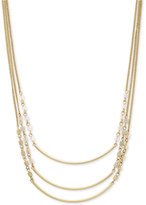BCBGeneration Gold-Tone Polished Bar Beaded Triple-Layer Necklace