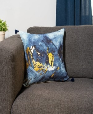 Protect A Bed Metallic Gold on Print Blue Decorative Throw Pillow