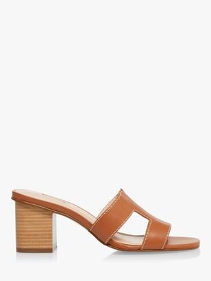 Dune Jupe Leather Block Heel Mules, Tan