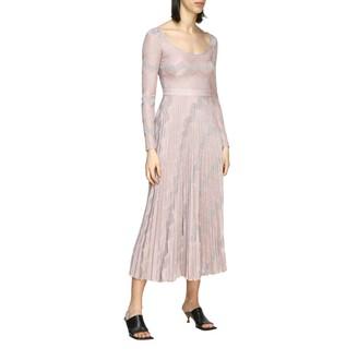 M Missoni Long Dress In Pleated Lurex Jacquard