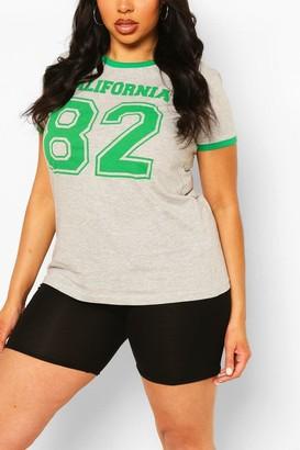 boohoo Plus Cali 82 Slogan Ringer T-Shirt