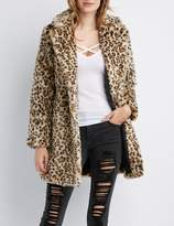 Charlotte Russe Leopard Faux Fur Notched Lapel Coat
