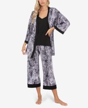 Linea Donatella Leopard-Print Wrap Robe, Cami & Capri Pajama Set