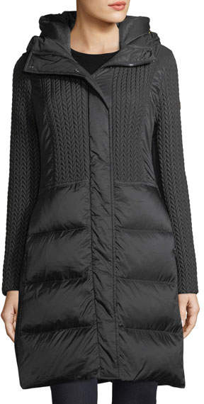Post Card Hazel Quilted Puffer Coat w/ Cable-Knit