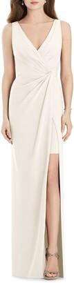Jenny Packham V-Neck Crepe Column Gown