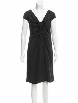 Valentino Ruffle-Accented Knee-Length Dress w/ Tags Black
