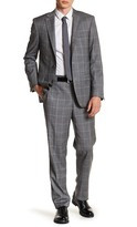 Simon Spurr Light Grey Windowpane Two Button Notch Lapel Wool Suit
