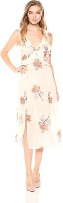 ASTR the Label Women's Milani Flowy Ruffle MID Length Open Back Dress