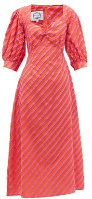 Evi Grintela Rabat Stripe-applique Cotton-poplin Dress - Orange Multi