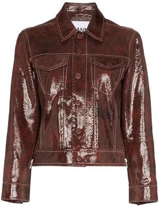 Ganni Snake-Print Leather Jacket