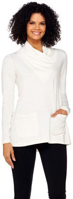 Logo By Lori Goldstein LOGO Lounge by Lori Goldstein French Terry Cowl Neck Top with Pockets
