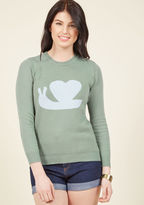 mds1020 When an inspired stylista follows her whims, she'll surely be led to this quirky sage sweater! Starring a light blue intarsia of a snail tucked into a heart-shaped shell, this ModCloth-exclusive pullover provides the world with a delightful taste of your