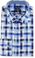 English Laundry Big-Check Woven Dress Shirt, Navy/Blue/White