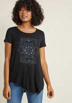 ModCloth Ensemble Ambience Graphic T-Shirt in S - Short Sleeve A-line Tunic