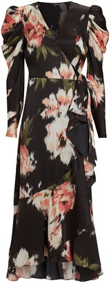 Intermix Mona Floral Silk Wrap Dress