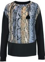 Just Cavalli Printed Silk And Stretch-Jersey Sweater