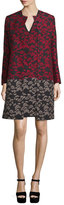 Etro Long-Sleeve Floral-Print Topper Coat, Black/Red