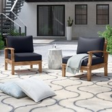 Anthony Logistics For Men Outdoor Teak Patio Chair Set with Cushions Foundstone Cushion Color: Navy