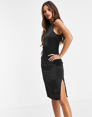UNIQUE21 racer neck satin midi dress in black