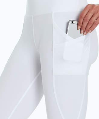 Bally Total Fitness Women's Leggings WHITE - White Mesh-Accent Pocket High-Waist Exhale 22'' Capri Leggings - Women
