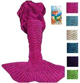 DDMY Mermaid Tail Blanket For Kids Teens Adult Handmade Wave Mermaid Blankets Crochet Knitting Blanket Seasons Warm Soft Living Room Sleeping Bag Best Birthday Christmas gift 74''x35''