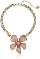 "Betsey Johnson Luminous Betsey"" Large Pink Flower Pendant Necklace, 16"" + 3"" Extender"