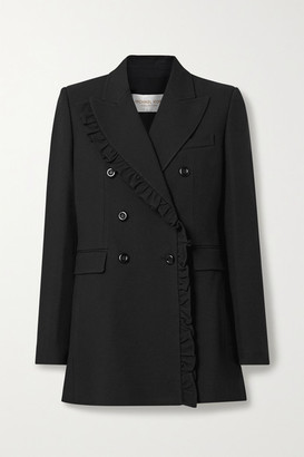 Michael Kors Ruffled Double-breasted Crepe Blazer - Black