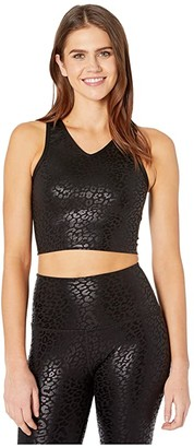 Beyond Yoga Back Me Up Cropped Tank (Black/Shiny Black Leopard) Women's Clothing