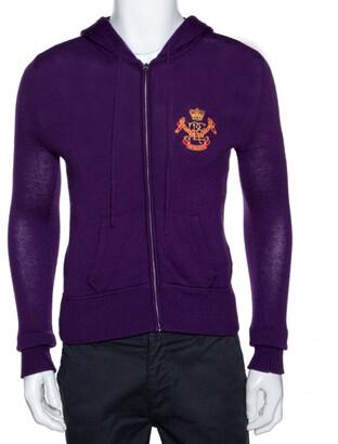 Ralph Lauren Purple Merino Wool Hooded & Fitted Sweater L