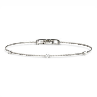 Paul Morelli 18k White Gold Three-Diamond Bracelet, 0.18 TCW