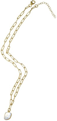 ADORNIA 14K Yellow Gold Vermeil Jagged Cut Moonstone Link Chain Pendant Necklace